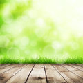 Grass fresh spring green with green bokeh and sunlight and wood floor natural background Royalty Free Stock Photo
