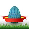 Grass handmade easter egg ribbon illustration Stock Photos