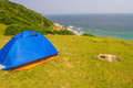 Grass Island in Hong Kong - Camp Site Royalty Free Stock Photo