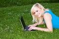 Grass ja target2020_0_ jej laptop używać kobiety Zdjęcia Royalty Free