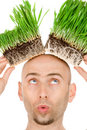 Grass on my head Royalty Free Stock Photos