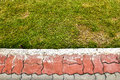 Grass red and Gray pavement background Royalty Free Stock Photo