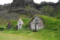 Grass roofed houses in Iceland used as shelter for travellers Royalty Free Stock Photo