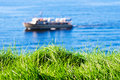 Grass with seas and boat on background Stock Photography