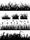 Grass silhouette set Stock Image