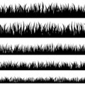 Grass stencil. Isolated greenery silhouettes. Grassland banners for overlay design.