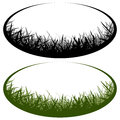 Grass vector logo oval cutout Stock Image