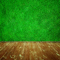 Grass wooden floor and the wall of the Royalty Free Stock Photo