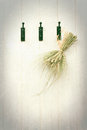 Grasses tied with raffia on hooks with textured background Stock Image