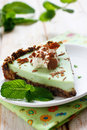 Grasshopper mint and chocolate tart Royalty Free Stock Photo