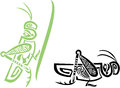 Grasshopper stylized tribal in green and black options Royalty Free Stock Photography