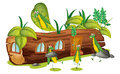 Grasshoppers and a wood house illustration of on white background Stock Images