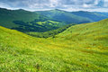 Grassland and forest in carpathians mountains landscape scenery panorama of bieszczady national park poland Royalty Free Stock Photos