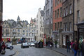 Grassmarket edinburgh shops on the cobbled street of part of s old town in the shadow of castle Stock Photography