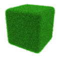 Grassy cube object covered with grass isolated on white background Royalty Free Stock Images