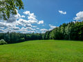 Grassy meadow between the woods. Royalty Free Stock Photo