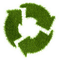 Grassy recycle sign Stock Photography
