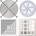 Grate fan illustration of different types of grids Stock Photos