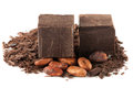 Grated chocolate, chocolate chunks and cocoa beans Royalty Free Stock Photo