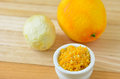 Grated citrus rind orange and lemon cooking ingredient copy space Royalty Free Stock Image