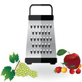 Grater metallic icon vector and fruits apple, strawberry, cherry, grapes illustration. Kitchen equipment steel food cut accessory Royalty Free Stock Photo