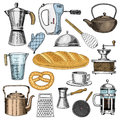 Grater and whisk, frying pan, Coffee maker or grinder, french press, mixer and baked loaf. kitchen utensils, cooking Royalty Free Stock Photo