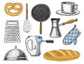 Grater and whisk, frying pan, Turk for coffee, cup of tea, mixer and baked loaf Royalty Free Stock Photo