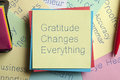 Gratitude Changes Everything written on a note Royalty Free Stock Photo