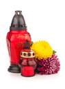 Grave candle lantern with flowers isolated on white Royalty Free Stock Photo