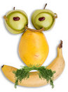 Grave face made of fruits Royalty Free Stock Photo