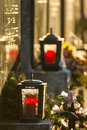 Grave lantern at vienna main cemetery Royalty Free Stock Images