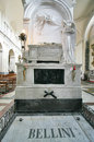 Grave of the musician vincenzo bellini in the cathedral of catan marble with statue famous composer inside baroque catania sicily Stock Photos