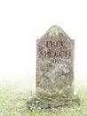 Grave to Free Speech. White background.