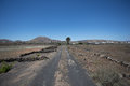 Gravel roads run all over Lanzarote. Royalty Free Stock Photo