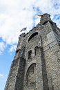 Gravensteen Castle with flags, Ghante, Belgium Royalty Free Stock Photo