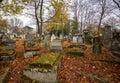 Graves at the cemetery in autumn season Stock Photo