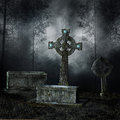Graves in the forest old and crosses dark Royalty Free Stock Photography