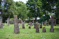 Graves at old cemetery of St. Brigitta convent in Pirita region, Tallinn Royalty Free Stock Photo
