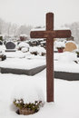 Graves in the snow winter day a graveyard with covered Royalty Free Stock Photography