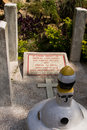 Gravestone of the british cemetery in kathmandu nepal founded year embassy was established and gurkha war came Royalty Free Stock Photography