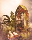 Gravestone with candle and book autumn scene Royalty Free Stock Photography
