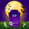 Gravestone at night with full moon, Halloween background card poster Royalty Free Stock Photo