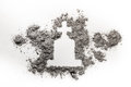 Gravestone or tombstone with christian cross drawing made in ash Royalty Free Stock Photo