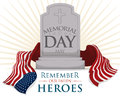 Gravestone with USA Flag for Memorial Day, Vector Illustration Royalty Free Stock Photo
