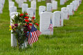 Gravestones in arlington national cemetery washington dc and usa flags near to usa Stock Images