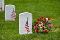 Gravestones in arlington national cemetery washington dc and usa flags near to usa Stock Image