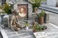 Gravestones in christian cemetery in Lugano, Switzerland
