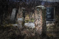 Gravestones old and deserted serbia Stock Photo