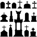 Gravestones tombstones headstones collection of silhouettes representing isolated on white background useful also for halloween Stock Image