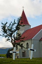 Graveyard behind typical Icelandic church at Glaumbaer farm Royalty Free Stock Photo